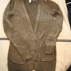 JCREW Bronzey Metallic woven cardigan.